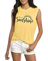 Umsuhu Hello Sunshine Tank Tops for Women Casual Summer Graphic Sleeveless Tank Tops Tee Shirts (S, Yellow)