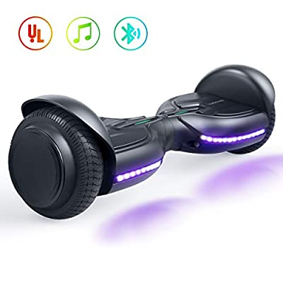 """TOMOLOO Hoverboards 6.5"""" Solid Tires Wheel, Self Balancing Scooter Hoverboard with Bluetooth, Hoover Board with LED Lights Electric Scooter for Adult and Kids Gift."""