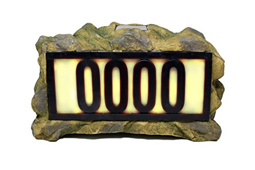 Natures Mark Solar Power Lighted House Numbers Address Sign - LED Illuminated Outdoor Resin Light Up House Number Sign Decor for Home Yard Street (Rock)