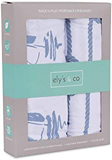 Pack N Play Portable Crib Sheet Set 100% Jersey Cotton 2 Pack - Dusty Blue Nautical Print