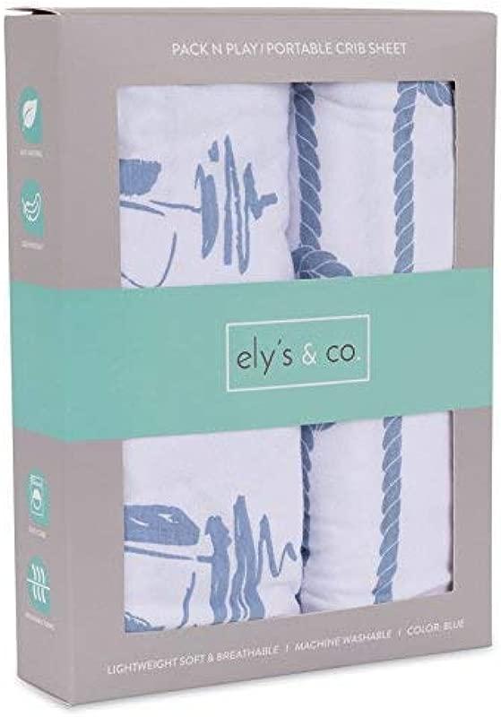 Pack N Play Portable Crib Sheet Set 100 Jersey Cotton 2 Pack Dusty Blue Nautical Print