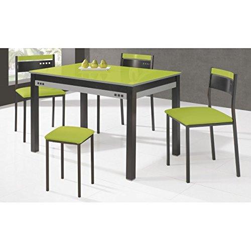 SHIITO - Mesa de Cocina Extensible 100x60 cm con armazón en Negro y Tapa de Cristal