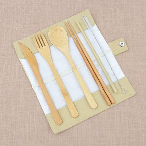 Set van 7 Bamboe Servieset, Draagbare Vork Lepel eetstokjes met Beschermende Cover voor Outdoor Reizen Beige