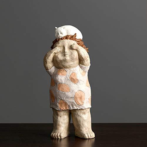 Statues Sculpture Figurines Statuettes,Kreative Harz Schöne Dicke Frauen Puppe Und Katze Abbildung Figur Skulptur Sammlerstücke, Schmuck Desktop Handwerk Kunst Dekor Statuetten Für Innen Wohnzimm