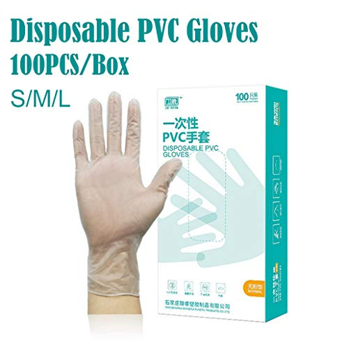 100 Pcs Disposable Gloves,PVC Powder-free Restaurant Home Service Catering Hygiene for Woodworking, House Cleaning and General Maintenance BBQ,Food Service (M)