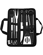 Barbecue Accessory Kit Grill Tool Set Versatile Portable Outdoor Indoor Barbecue Knife, Fork, Spatula, Tong, Basting Brush and Skewers with Storage Case Stainless Steel BBQ 9-piece Unit