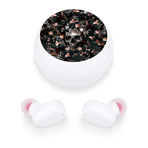 Audífonos inalámbricos elegantes y hermosos auriculares Bluetooth con mini estuche de carga, regalo para mujeres y niñas para llamadas/hogar/oficina/correr/fitness (patrón de calavera y floral)