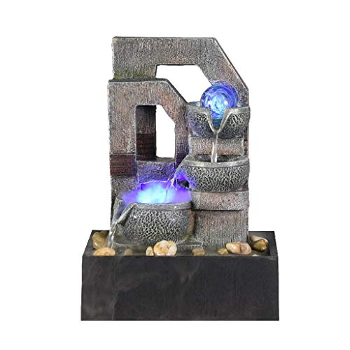 LDKFJH 3-Tier Indoor Tabletop Water Fountain - Table-Top Oriental Water Feature with LED Lights Portable Zen Meditation Waterfall Decoration with Pump & Power Adapter (Color : F)