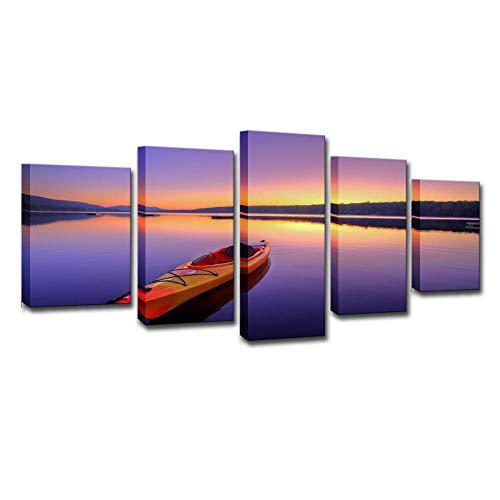 Mrsen La Imagen en el Lienzo, el Conjunto de 5 Piezas de impresión casera de Kayak de río, Materiales no Tejidos, Impresiones artísticas-con Marco 30x40cmx2 30x60cmx2 30x80cmx1