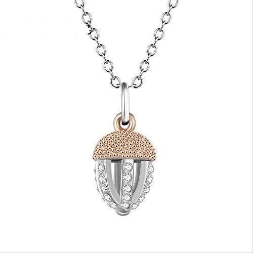 NC122 Collar de Mujer S Collar de Plata Conjunto de Fruta de Pino Colgante Simple de Dos Tonos Joyería de Mujer S