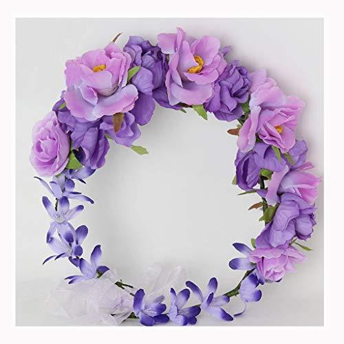LYM Couronne de Fleurs Fleurs Bandeau Festival de Mariage Corolla Chapeaux Accessoires (Couleur : A)