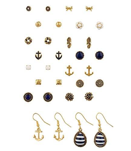 SIX 16 Ohrstecker-Set: Maritimer Ohrschmuck in verschiedenen Formen und Farben, 14 Ohrstecker, 2 Ohrhänger, gold, blau-weiss (459-020)
