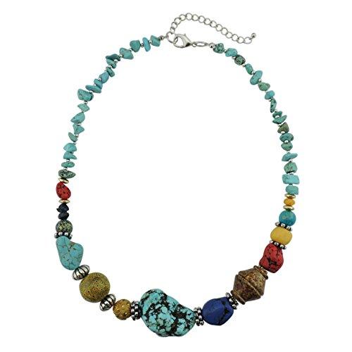 Bocar Collar largo con colgante de turquesa de las mujeres coloridas collar de turquesa con borla