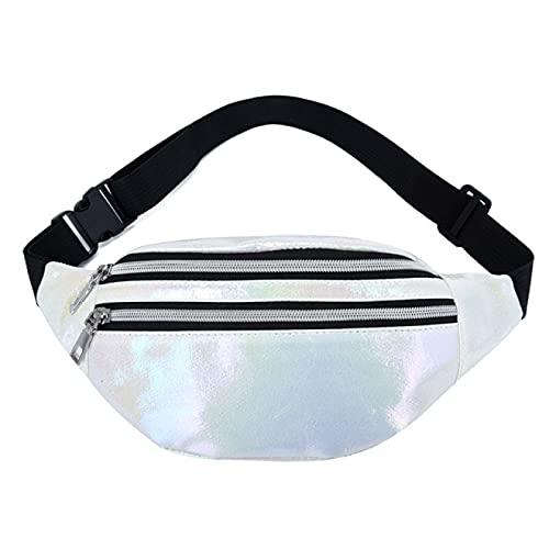 Bolsa de cinturón para mujer con holograma rosa, bolsa de cintura láser Pu Beach Traverl Banana Hip Bum Zip Chalecos para mujeres, White (Blanco) - 6998542360734