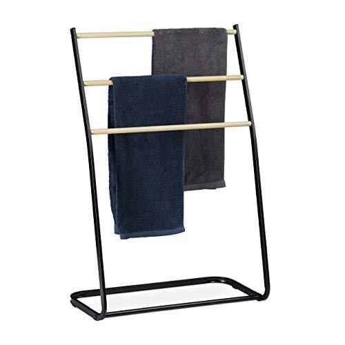 Relaxdays Porta Asciugamani da Terra, 3 Aste Effetto Legno, per Accappatoi e Indumenti, HxLxP: 86 x 58 x 30 cm, Nero, Ferro, 1 pz