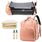 Diaper Bag with Changing Station, Baby Bag, Diaper Bag Backpack, Baby Bag with Built-in USB Charging Port and Stroller Straps Large Capacity Waterproof (Pink)