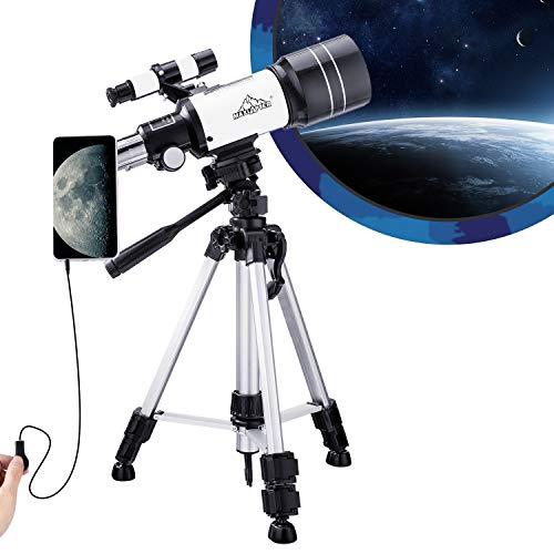 MAXLAPTER Telescopio para niños principiantes de astronomía, telescopio portátil 150X 300/70 HD de gran visión con obturador de cable de cámara, adaptador de smartphone y mochila