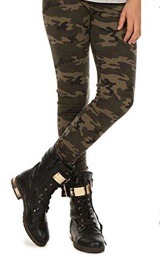 Dykmod Camouflage Mädchen Thermo Leggings Leggins Hose Militär Winter Herbst hk293 122 Khaki