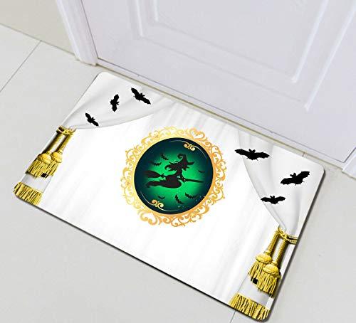 ZHANGSHUQI Hexenspiegel Halloween Fledermäuse Badezimmermatte Anti-Rutsch-Boden Indoor Eingangstür Matte Bodenmatte Kinder 40X60CM Zubehör