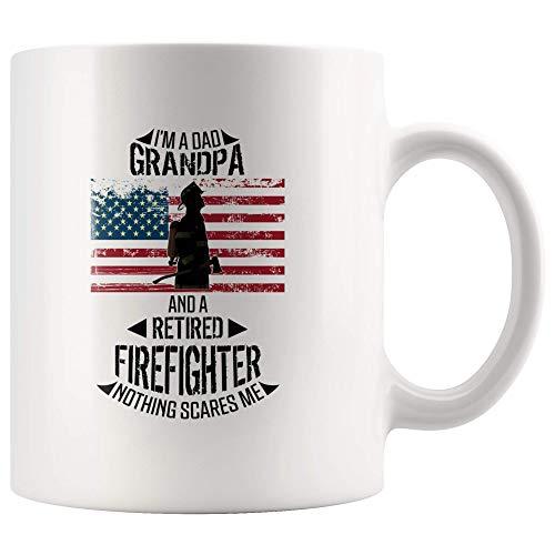 US-brandweerman rustgeschenk voor papa opa niets maakt mir angst beker brandweermannen met pensioen vaderdaggeschenk Vaderdaggeschenk Vaderdag Vlag 11 oz koffie theebeker mok wit