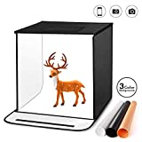TYCKA Photo Studio Box, 40x40x40 CM/16x16x16 Inches Foldable Photography Studio Light Tent with 5500K LED Lights,3 Backdrops (Black, White, Beige)