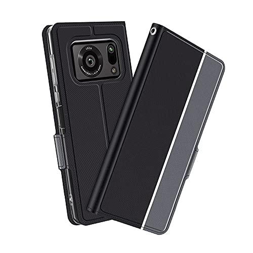 AQUOS R6 SH-51B用 ケース/カバー 手帳型 レザー スタンド機能 カード収納 上質なPUレザーケース シャープ アクオス R6 レザーケース ストラップ付き おしゃれ アンドロイド スマフォ スマホ スマートフォンケース/カバー(ブラック)