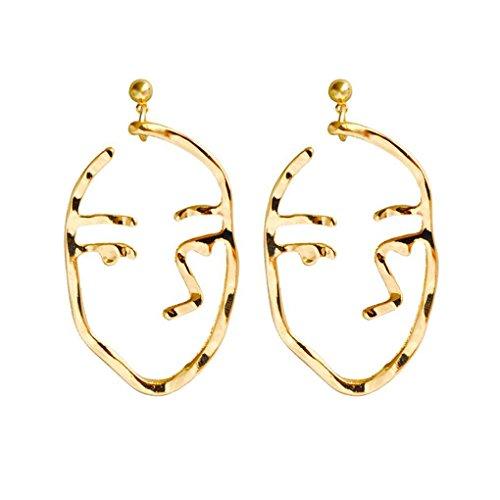 Bobury 1 par Simple de Oro Silve Pendientes Mujeres Ahuecan hacia Fuera los Pernos prisioneros del oído Humano Cara cuelgan el Pendiente de Gota Chica Punk