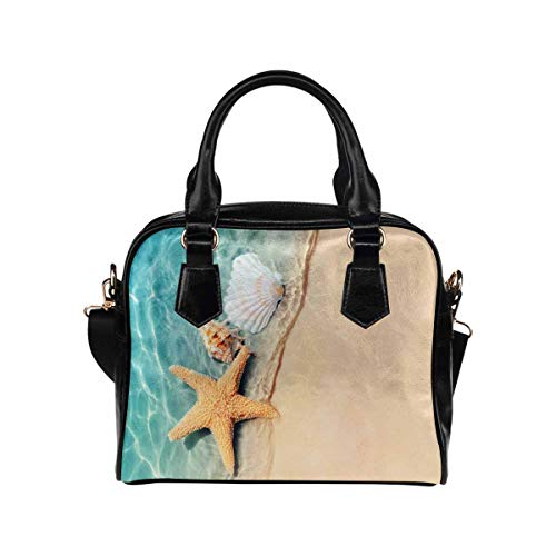 Starfish Seashell Summer Beach Sea Women's PU Leather Purse Handbag Shoulder Bag
