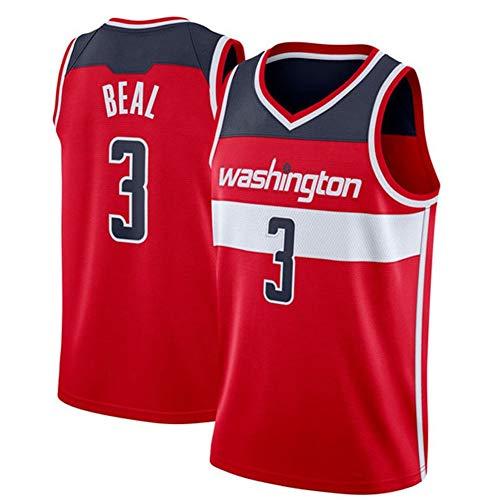 DXG NBA Washington Wizards 3# Bradley Beal Ropa Deportiva de Baloncesto Camiseta Sin Mangas Malla Bordada de Baloncesto Sin Mangas Transpirable y Cómoda,Rojo,S