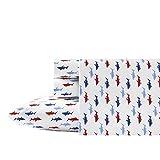 Nautica Costazul Cotton Percale Sheet Set, Twin, Blue/Red