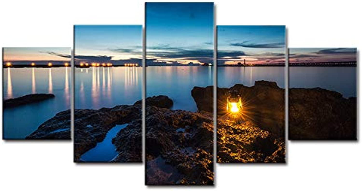 Living Room HD Printed Wall Art Picture Painting 5 Piece Pcs Dusk Seaside Camping Lamp Modern Home Decoration Posters Frame