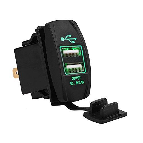 Fydun Caricabatteria Da Auto Impermeabile 12-24V 3.1A LED Dual USB Smart Ports LED Caricabatteria Da Auto Alimentatore Con Caricabatterie Veloci(verde)