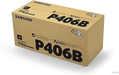 Samsung CLT-P406B, SU374A, Cartuccia Toner, Pacco da 2, da 3.000 pagine, compatibile con le stampanti Samsung LaserJet Color Serie CLP-365 e Samsung LaserJet Xpress Serie C410, Nero