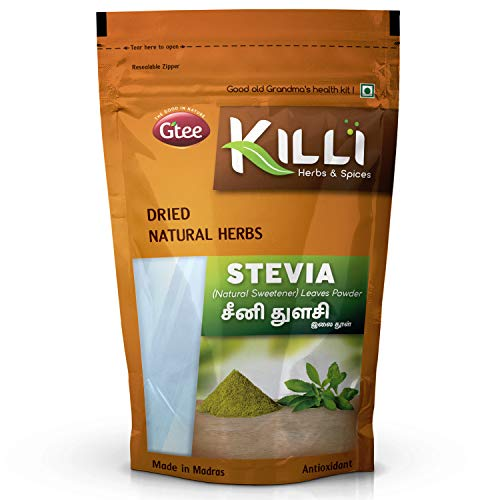 KILLI Stevia | Natural Sweetner | Seeni Thulasi Leaves Powder, 100g