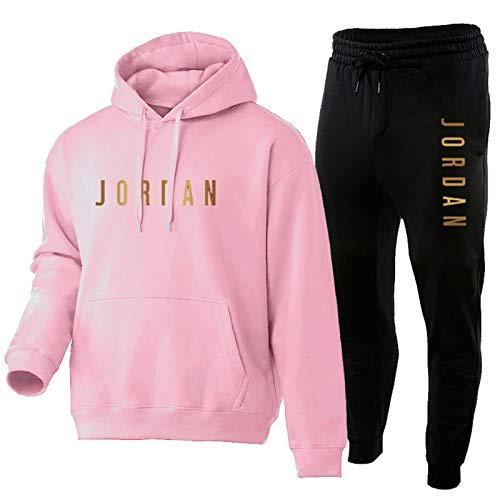 LCSA Chándal de baloncesto para hombre, de Jord, de dos piezas, con capucha, pantalones y sudaderas, para deportes al aire libre, ropa de entrenamiento, color rosa