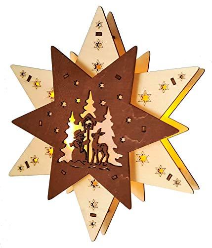 Wichtelstube-Kollektion LED Fensterbilder Weihnachten Holz beleuchtet Weihnachtsstern inkl. Timer Schwibbogen Weihnachten