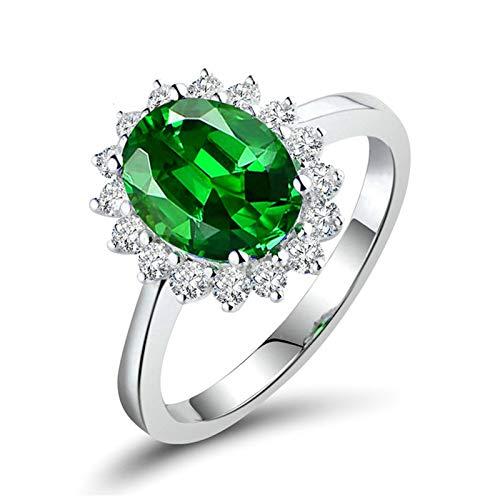 Beydodo Anillo de Boda Mujer,Anillo Oro Blanco 18K Mujer Plata Verde Flor con Oval Tsavorita Verde 0.4ct Diamante 0.11ct Talla 9,5(Circuferencia 49MM)