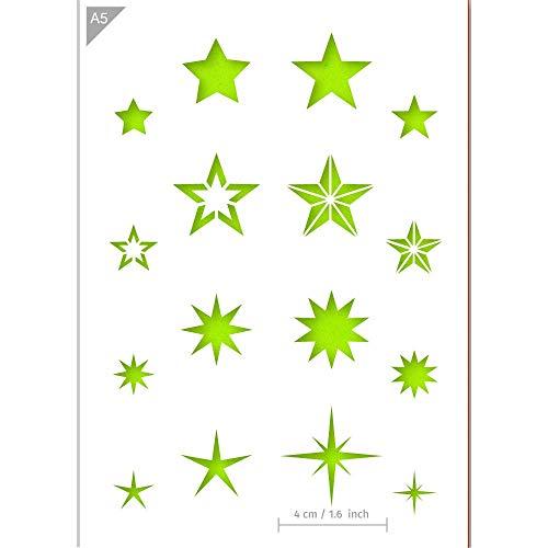 QBIX Stern Schablone - Sterne Schablone - Bling Form - A5 Sze - Wiederverwendbare Kinder freundlich DIY Schablone für Malerei, Backen, Handwerk, Wand, Möbel