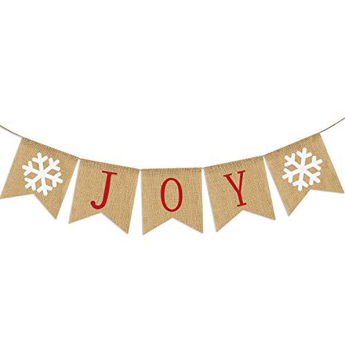 Burlap Joy Banner | Christmas Bunting Banner | Rustic Christmas Decorations | Holiday Banner| Holiday Decorations| Home Mantle Fireplace Decor
