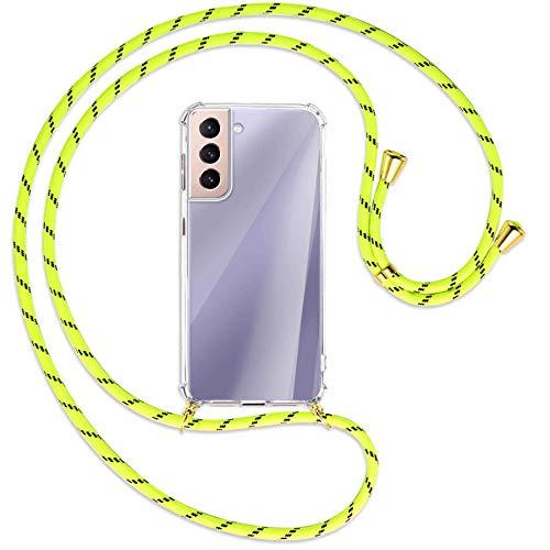 mtb more energy® Collana Smartphone per Samsung Galaxy S21 5G (SM-G991, 6.2'') - Strisce Giallo Neon/Oro - Custodia indossabile per Collo - Cover a Tracolla con cordina