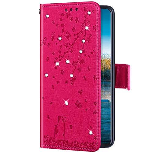 Uposao Kompatibel mit Huawei P40 Lite Hülle Leder Schutzhülle Glitzer Bling Strass Diamant Kirschblüte Blumen Flip Wallet Case Brieftasche Handyhülle Lederhülle Klapphülle,Rose Rot