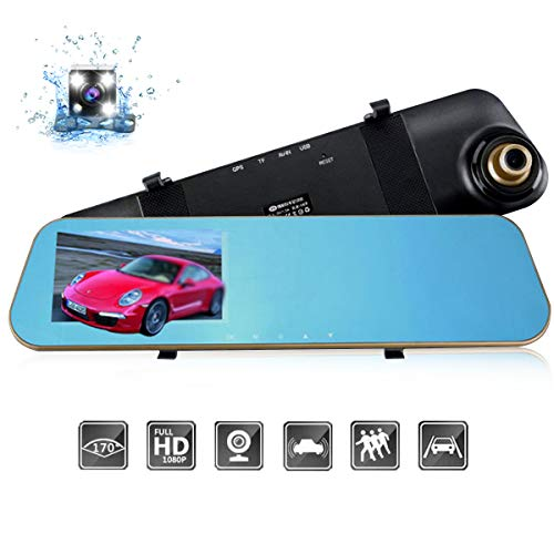 DEALPEAK Dual Lens HD 1080P Car Video Camera Recorder Rearview Mirror Dash Cam 170 Degree Wide Angle G-Sensor Night Vision Front and Back Camera with 4.3