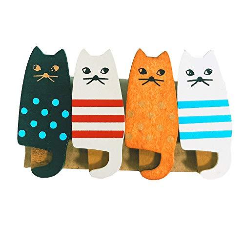 木製 クリップかわいい猫型ピン ウッドクリップ写真 クリップ おしゃれ 文房具 4パック02