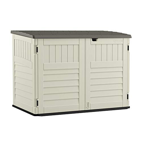 Suncast 5' x 3' Horizontal Stow-Away Storage Shed - Natural Wood-like Outdoor Storage for Trash Cans and Yard Tools - All-Weather Resin, Hinged Lid, Reinforced Floor - Vanilla and Stoney -  BMS4700