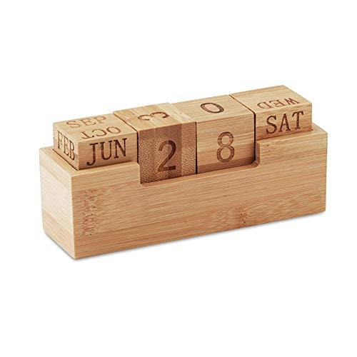 Notrash2003 - Calendario perpetuo de madera de bambú para oficina y escritorio