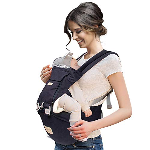 Bebila Baby Carrier with Hip Seat Holder Wrap Adjustable Carrier Newborn Infant All Position Backpack 6 in 1 Cute Baby Carrier Toddler Ergonomic Outdoor Travel