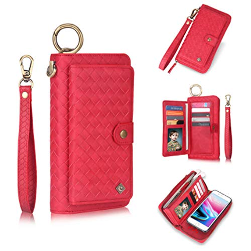 Jennyfly Galaxy S10 Phone Cover Red Women Retro Removable Protective Phone Case Detachable Zipper Purse Case Multifunction Wallet Case with Multi Card Slots for 2019 6.1 inch Galaxy S10