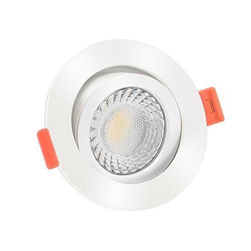 10x dimmbare, 25mm flache Aluminium LED Einbaustrahler | Extrem hell & Cri 90 | 7W statt 90W | 230V | 2700 Kelvin 500 Lumen | warmweiße Lichtfarbe | weiß | 10er Set 2700K