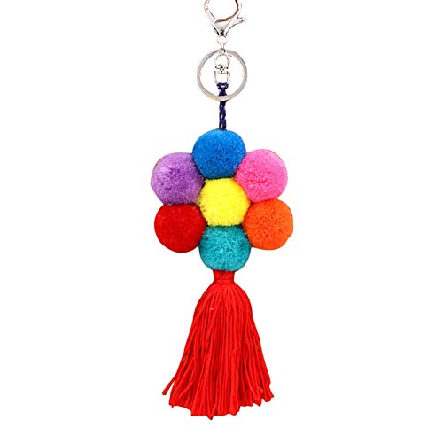 Wimagic 1 llavero colorido con forma de flor, bola de felpa, colgante hecho a mano, llavero, adornos de regalo para mujer, bolso de mano, decoración de coche 22 cm estilo C