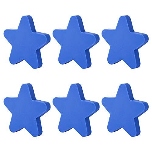 Haunen Möbelknöpfe Kinderzimmer Set, 6 Stücke Möbelgriff Kinder Set Schubladenknopf Schrank Kommoden Ziehgriffe Sternform - 5,1 × 5,1 × 2,2cm (Blau)